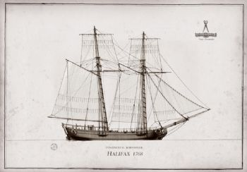 1768 Continental Schooner Halifax pen ink study